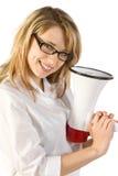 Donna con il megafono Fotografia Stock