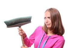 Donna con il mop Immagine Stock
