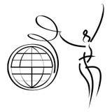Donna con il nastro del globo illustrazione vettoriale