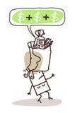 Donna con il pacchetto troppo costoso dell'alimento illustrazione vettoriale