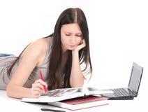 Donna con il PC del calcolatore Fotografia Stock