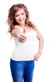 Donna con il pollice in su Immagini Stock