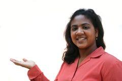 Donna con il prodotto Fotografia Stock