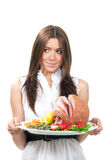 Donna con il prosciutto affettato cotto Immagini Stock Libere da Diritti