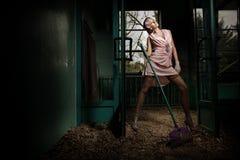 Donna con il rastrello Fotografie Stock Libere da Diritti