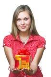 Donna con il regalo Immagini Stock Libere da Diritti