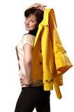 Donna con il rivestimento Fotografia Stock Libera da Diritti