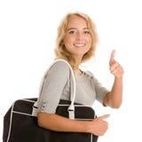 Donna con il sacchetto Fotografie Stock