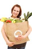 Donna con il sacchetto Immagini Stock