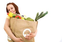 Donna con il sacchetto Immagini Stock Libere da Diritti