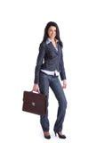 donna con il sacchetto dell'ufficio fotografie stock