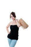 Donna con il sacchetto di acquisto Fotografie Stock Libere da Diritti