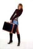 Donna con il sacchetto di viaggio Fotografie Stock Libere da Diritti