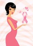 Donna con il simbolo di consapevolezza del cancro al seno Immagini Stock