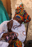 Donna con il tatuaggio tribale, in Djenne, il Mali Fotografia Stock Libera da Diritti