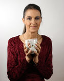 Donna con il teacup Immagine Stock Libera da Diritti