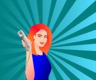 Donna con il telefono Illustrazione di Stock