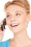 Donna con il telefono cellulare Fotografia Stock