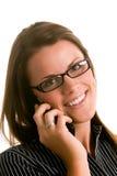 Donna con il telefono delle cellule Fotografia Stock