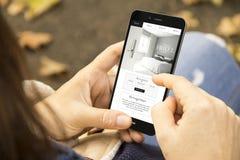 donna con il telefono di progettazione del sito Web dell'hotel nel parco Fotografie Stock Libere da Diritti
