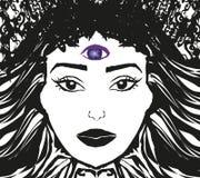 Donna con il terzo occhio illustrazione di stock