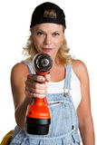 Donna con il trivello senza cordone Immagini Stock Libere da Diritti