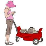 Donna con il vagone rosso Fotografia Stock