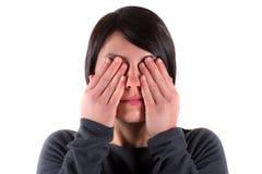 Donna con il vedere nessun gesto diabolico Immagine Stock Libera da Diritti
