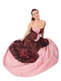 Donna con il vestito con crinolina Immagini Stock
