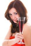 Donna con il vetro di vino Fotografia Stock