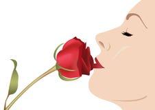 Donna con il vettore di rosa Immagini Stock
