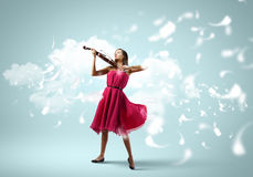 Donna con il violino Immagini Stock