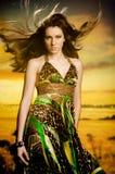 Donna con il volo dei capelli Immagini Stock Libere da Diritti