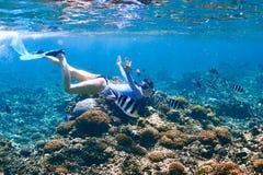 Donna con immergersi della maschera Fotografia Stock