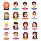Donna con l'acconciatura differente Bello giovane insieme femminile dell'avatar di vettore dei fronti illustrazione di stock