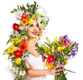 La donna con compone e fiorisce. Fotografia Stock Libera da Diritti