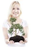 Donna con l'albero Fotografie Stock