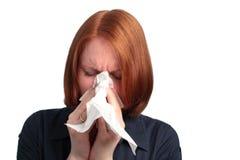 Donna con l'allergia Fotografia Stock