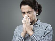 Donna con l'allergia Fotografie Stock Libere da Diritti
