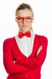 Donna con l'atteggiamento del capo di cravatta a farfalla Immagine Stock
