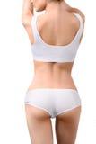 Donna con l'ente esile perfetto in biancheria intima bianca Fotografie Stock Libere da Diritti