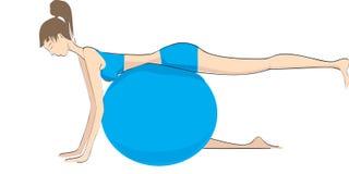 Donna con l'esercitazione della sfera, Immagini Stock Libere da Diritti