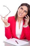 Donna con l'espressione arrabbiata Fotografia Stock