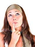 Donna con l'espressione della fascia immagine stock