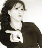 Donna con l'espressione facciale arrabbiata Fotografia Stock Libera da Diritti