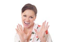 Donna con l'espressione isolata su bianco Fotografia Stock Libera da Diritti