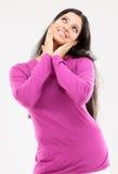 Donna con l'espressione piacevole Immagini Stock Libere da Diritti
