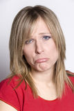 Donna con l'espressione triste Fotografia Stock