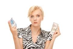Donna con l'euro ed il dollaro Immagine Stock Libera da Diritti