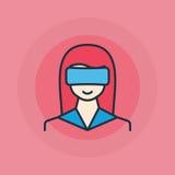 Donna con l'icona di vetro di VR Fotografie Stock Libere da Diritti